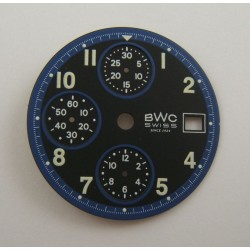 CADRAN CHRONOGRAPHE BWC BLANC ET BLEU POUR ETA VALJOUX 7750 DIAMETRE 30MM