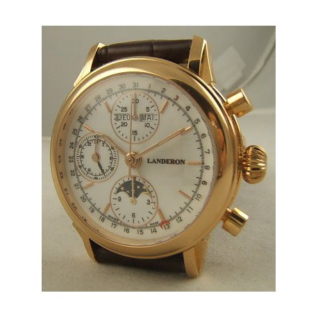 CHRONOGRAPHE LANDERON AUTOMATIQUE TRIPLE DATES PHASE DE LUNE EN OR 18K